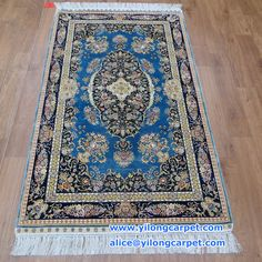 The hand knotted silk carpet has three sizes: 2*3 ft - 61*91 cm  2.5 *4 ft - 76 * 122 cm  3 * 5 ft - 91 *152 cm www.yilongcarpet.com alice@yilongcarpet.com whatsapp & viber : +86 15638927921