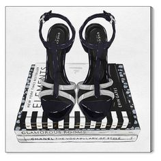 Oliver Gal Fashion Shoes And Glam Books Silver Canvas Art - 20316_36X36_CANV_XHD