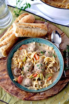 Cloudy with a chance of Swedish Meatball Noodle Soup.  If we could be so lucky.  Tender, moist meatballs, hearty No Yolks® noodles, carrots, mushrooms and celery all swimming in luscious creamy brown gravy broth swirled with sour cream.  With one bite, it will be a beautifully delicious day.     Growing up, my mom made three... Read More »