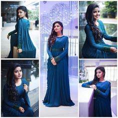 New wedding guest outfit blue bridal parties Ideas Indian Wedding Gowns, Indian Gowns Dresses, Prom Dresses, Saree Gown, Lehnga Dress, Lehenga, Half Saree Designs, Saree Blouse Designs, Stylish Sarees