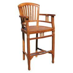 Chic Teak Orleans Teak Outdoor Barstool with Arms - AK53UAC