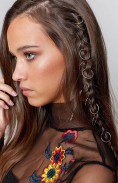 Add a little flair to your hair with the Sequence Hair Rings Silver! #longhair
