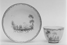 Teabowl and Saucer Loosdrecht ca. 1780-84 / Dutch. Hard-paste porcelain.