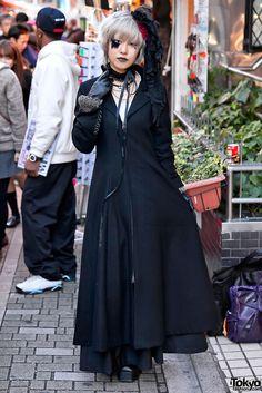 Gothic Japanese Girl w/ Feather Eyelash on Takeshita Dori in Harajuku