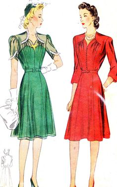 Vintage Sewing Pattern 1940s Simplicity 4332 Dress by paneenjerez, $20.00