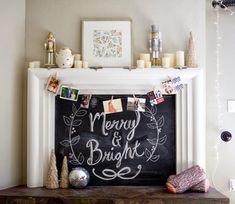 Love this idea for a chalkboard fireplace.