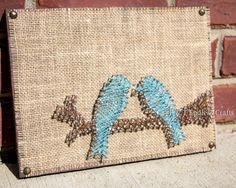 Blue Birds Burlap and String art wood wall by BandTEndlessCrafts