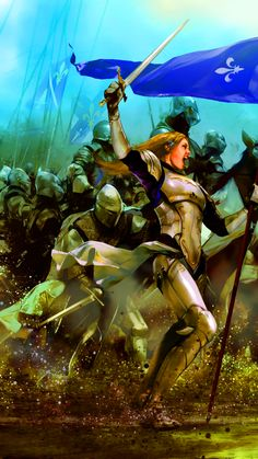 Joan of Arc leading the charge of the French army at the Siege of Orleans, Hundred Years War