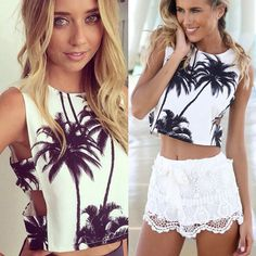 Women Coconut Tree Printed Tops