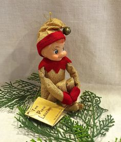 Rare Knee Hugger, PIXIE LEGEND, Elf, Original Tag, 5 inch, Christmas Ornament, Gold Lame', Inarco Japan, Circa 1960s by VintagePrairieHome on Etsy