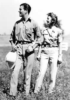 Robert Taylor and Barbara Stanwyck at their San Fernando Valley ranch, photographed by Bud Graybill, 1939