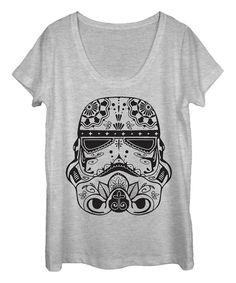 This Athletic Heather Sugar Skull Trooper Scoop Neck Tee - Women by Star Wars is perfect! #zulilyfinds