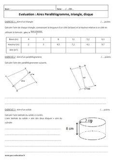 Parallélogramme, triangle, disque - 5ème - Evaluation sur les aires - Pass Education Math College, Pass Education, Evaluation, Line Chart, Cook, Learning, Recipes, Learn Math, Discus