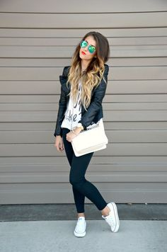 white tee / casual style / summer fashion / ombre hair / converse / leather jacket / aviators