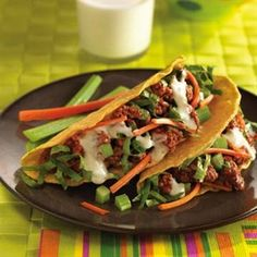 BUFFALO-STYLE BEEF TACOS: Family favorite tacos get a flavor update with wing sauce, blue cheese, celery and carrots.