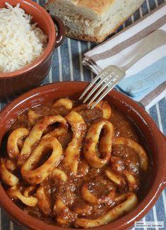 Receta de calamares en salsa americana Fish Recipes, Seafood Recipes, Appetizer Recipes, Beef Recipes, Healthy Recipes, Tapas, A Food, Good Food, Food And Drink