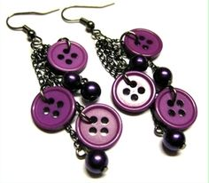 One of my favorite creations, my first button earrings attempt. Button Earrings, Drop Earrings, Purple Cow, Personalized Items, My Favorite Things, Accessories, Jewelry, Fashion, Moda