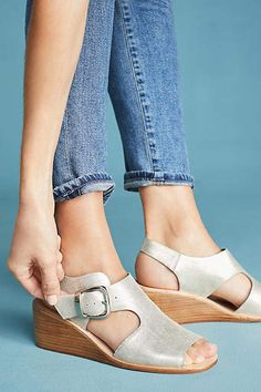 Jeffrey Campbell Gold Wedge Sandals #Anthropologie #ad