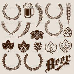 malt and hop illustra - Pesquisa Google