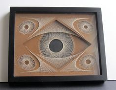 STRING ART Abstract GEOMETRIC Original Design Home Décor Wall Art Framed and Signed Handmade In Earth Tones of Light Brown and Beige OOaK on Etsy, $100.00