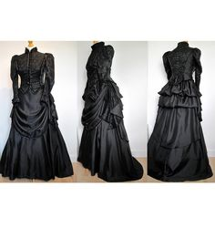 PLEASE MESSAGE ME BEFORE ORDERING - MADE TO ORDER late Victorian/Edwardian style mourning gown - details such as lace etc will be different to this dress according to availability of materials, but I can discuss this fully with you before making your dress.  This particular costume is made from black sateen, partly overlaid with french lace, trimmed with velvet ribbon and pleated satin, lace is beaded with black flower sequins and the buttons are french black glass, but I can basically u...