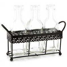 Black Metal Rack with 3-Glass Bottles