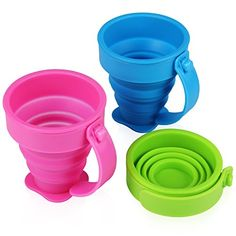 Camp Kitchen - Yilove Collapsible Silicone Travel Cups with HandlePop up Drinking Cups for Traveling and Camping 200mlSet of 3 Pink Green Blue *** Want to know more, click on the image.