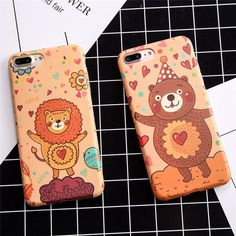 Cute Cartoon Bear Lion Fish Phone Cases For iphone 7 6 6S Plus Case High Quality IMD Soft TPU Silicone Rubber Back Cover Shell