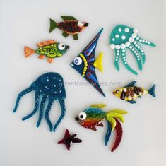 Art Glass Decorative Small fishes fusion | Glass handmade fused ...