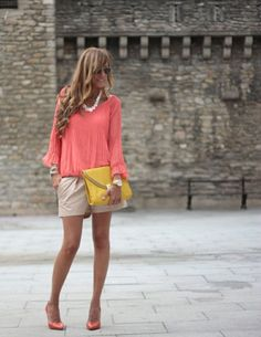 coral. this is a fun summer look, but i will be wearing flips with it instead of heals.  :)
