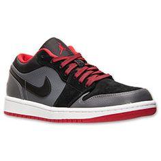 new arrival ba8f9 9f385 Men s Air Jordan 1 Low Basketball Shoes   FinishLine.com   Black Gym Red
