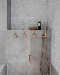 Rethinking the Shower Niche (& Why I Think The Ledge Is Next) Rose Gold Bathroom Faucet! The post Rethinking the Shower Niche (& Why I Think The Ledge Is Next) appeared first on Badezimmer ideen. Gold Bathroom Faucet, Bathroom Renos, Small Bathroom, Bathroom Remodeling, Bathroom Ideas, Remodeling Ideas, Master Bathroom, Shower Ideas, Grey Marble Bathroom