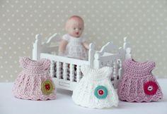 "Crochet  miniature dress  for doll  2.3/4"". Crochet clothes for baby doll. Crochet  miniature dress. Dress for newborn doll. Kewpie doll by Creativhook on Etsy"