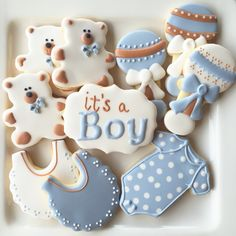 It's a boy baby shower decorated sugar cookies - Baby Shower Ideas Cupcakes Para Baby Shower, Gateau Baby Shower, Idee Baby Shower, Baby Shower Snacks, Baby Shower Cakes For Boys, Baby Shower Desserts, Baby Shower Brunch, Baby Shower Drinks, Baby Shower Fall