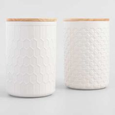 Large White Textured Ceramic Canisters with Lids Set of 2 by World Market - Welcome My Decor Spice Storage Containers, Storage Canisters, Kitchen Canisters, Kitchenware, Food Storage, Lp Storage, Record Storage, Hangout Room, Teen Hangout