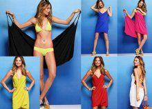 Ujjatlan, térdig érő, könnyen felvehető strandruha, több színben