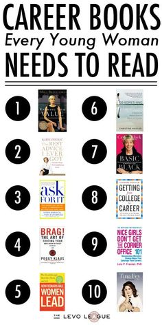 Career Books Every Young Woman Needs to Read- started on this list... working on the rest.