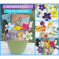 Your garden-loving friends will love this DIY Easter Basket for the Gardener complete with candy-filled Easter Egg Flowers (also #DIY)! ad #SweeterEaster Instructions on the blog! #EasterBaskets #Easter