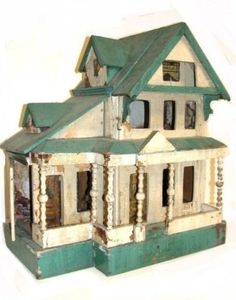 Antique Folk Art Country Victorian Handmade Doll House C.1800's Green And White