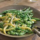 Mixed Garden Bean Salad with Shallots   1/2 lb. fresh shelling beans, such as fava beans, shelled 1 lb. wax beans, trimmed and cut into 2-inch lengths 1 lb. haricots verts, trimmed and cut into 2-inch lengths 1/4 cup fresh lemon juice 2 Tbs. white wine vinegar 2 shallots, minced 3/4 cup canola oil 1 tsp. grated lemon zest 1 tsp. ground coriander, toasted Salt and freshly ground pepper, to taste