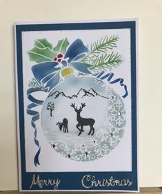 Xmas Cards, Holiday Cards, Greeting Cards, Christmas Baubles, Christmas Crafts, Snowflake Stencil, Lavinia Stamps, How To Make Snow, Card Io