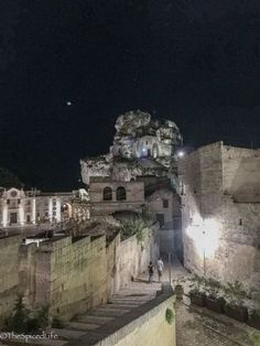 Walking back to hotel at night in the Sassi di Matera in Italy