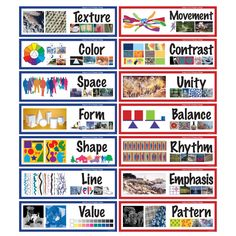 (blue/left side of picture) & Principles of Design (pink/right side of picture)Elements (blue/left side of picture) & Principles of Design (pink/right side of picture) Formal Elements Of Art, Elements Of Design, Art Elements, Principals Of Design, Art Room Posters, Art Basics, Elements And Principles, Design Theory, Graphic Design Tips