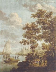 A view of the Castle of Aschaffenburg on the river Main, Bavaria by Jacobus Storck