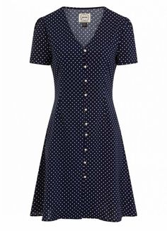 The Gwen Floral Mini Tea Dress is a classic tea dress in a navy polka dot with a vintage-inspired shape, tie back and pearl button-through front. Day Dresses, Dress Outfits, Casual Dresses, Short Sleeve Dresses, Vintage Style Outfits, Vintage Fashion, Joanie Clothing, Future Fashion, Pretty Outfits