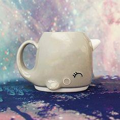 Grey Narwhal Ceramic 3d Coffee Mug Unicorn of the Sea Smoko smile.amazon.com/...