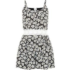 Parisian Black Crochet Waist Daisy Print Playsuit ($19) ❤ liked on Polyvore featuring jumpsuits, rompers, dresses, playsuit, tops, romper, daisy romper and playsuit romper