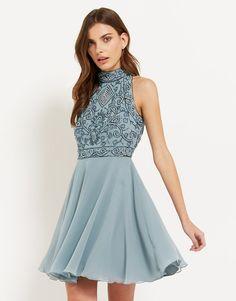 Lace & Beads Halterneck Embellished Skater Dress