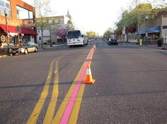 pink strip on road