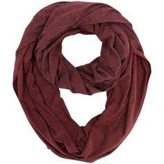 Luxury Divas Red & Gray Pinstripe Lightweight Infinity Circle Loop Scarf, Women's